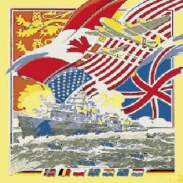 Foulard Anniversaire du Débarquement, drapeaux des Alliés